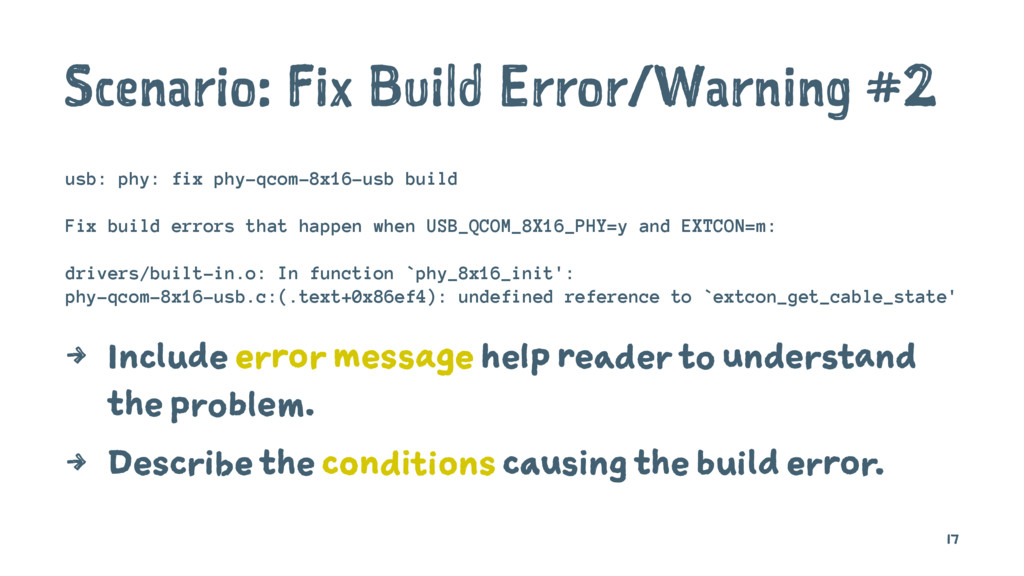 Scenario: Fix Build Error/Warning #2 usb: phy: ...