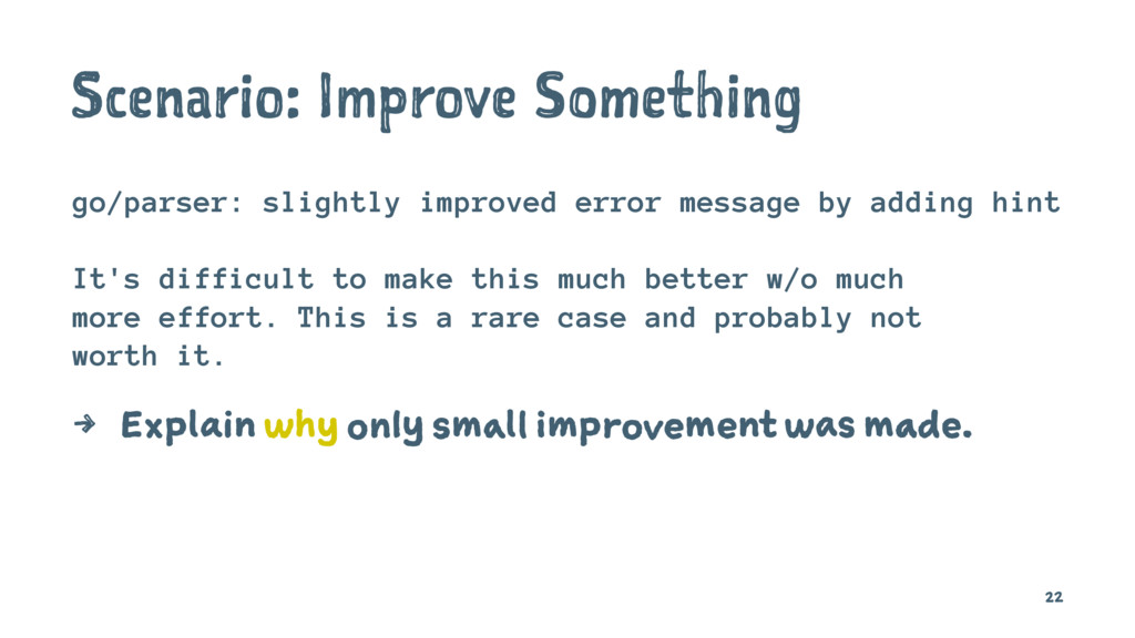 Scenario: Improve Something go/parser: slightly...