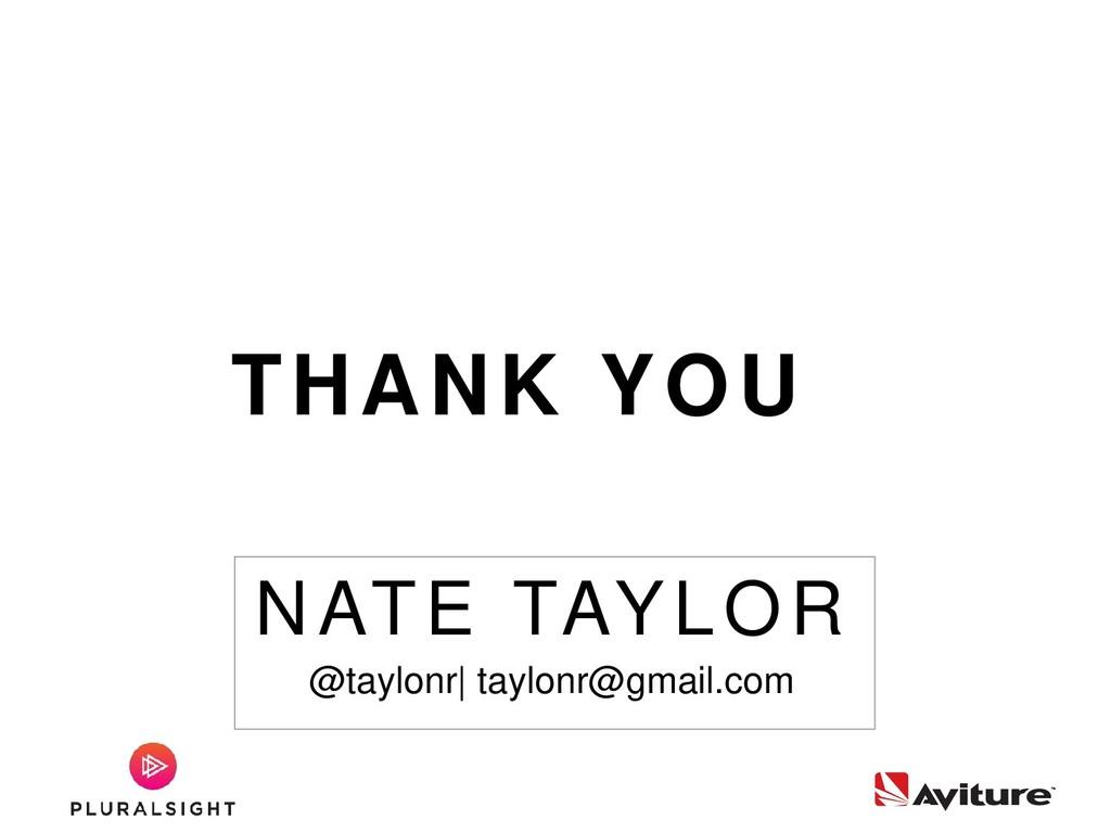 NATE TAYLOR @taylonr| taylonr@gmail.com THANK Y...