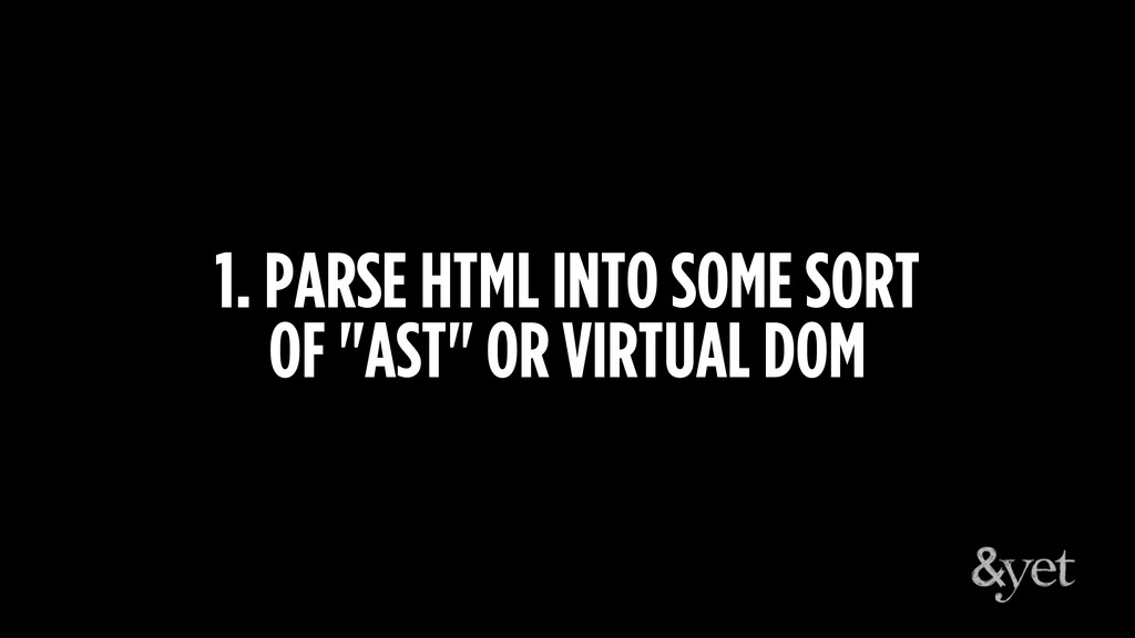 """1. PARSE HTML INTO SOME SORT  OF """"AST"""" OR VIRT..."""