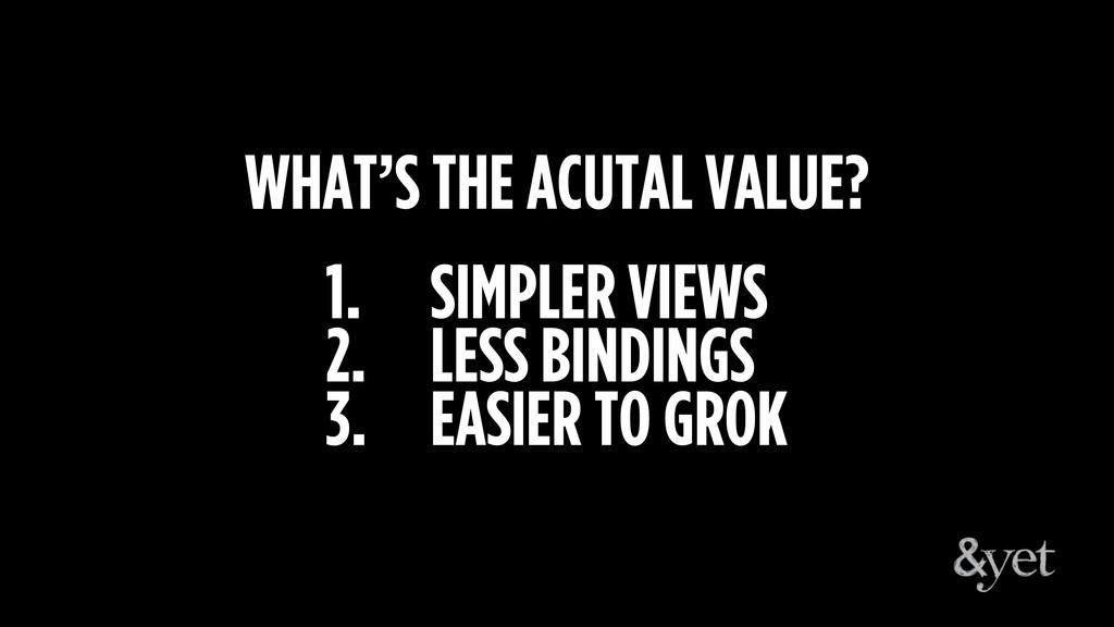 1. SIMPLER VIEWS 2. LESS BINDINGS 3. EASIER TO ...