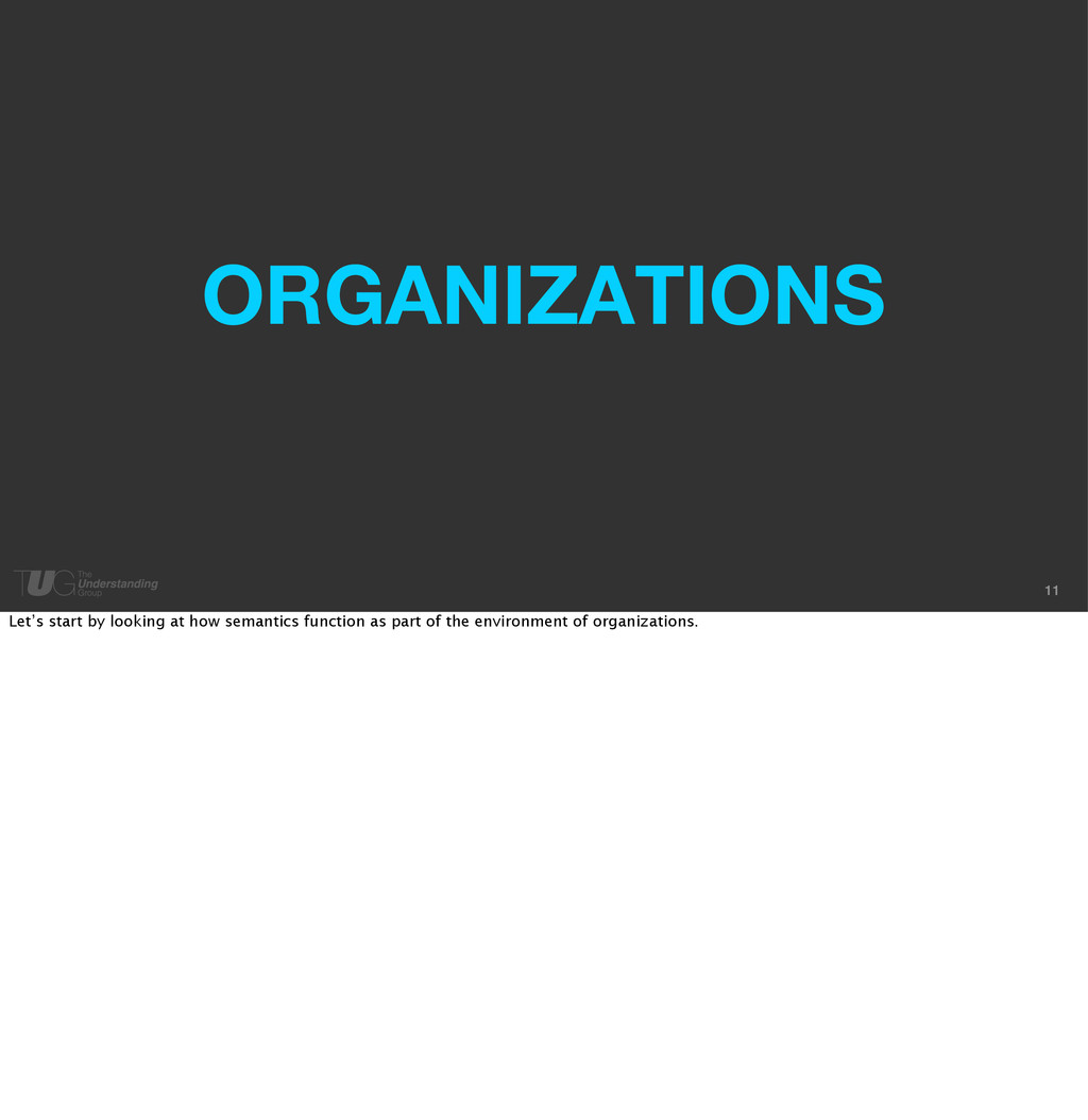 11 ORGANIZATIONS Let's start by looking at how ...