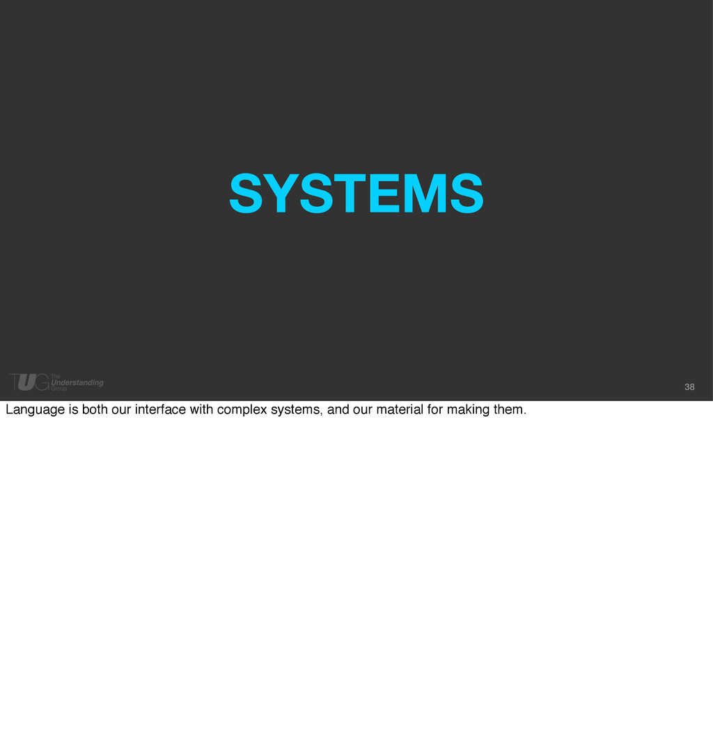 38 SYSTEMS Language is both our interface with ...