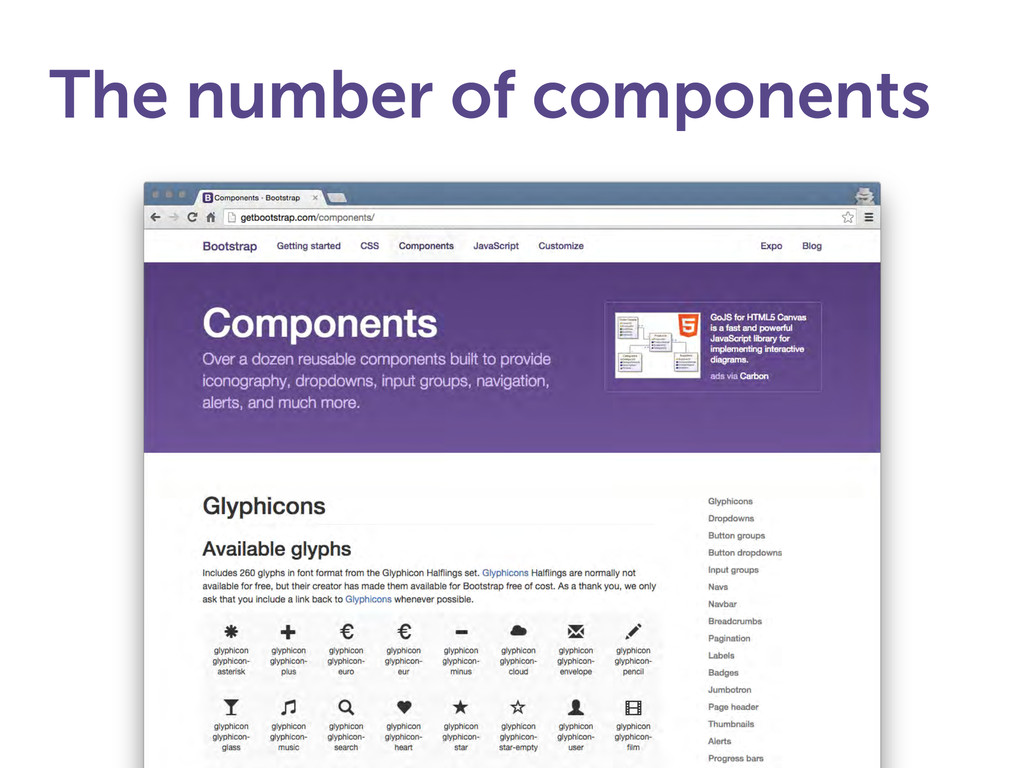 The number of components