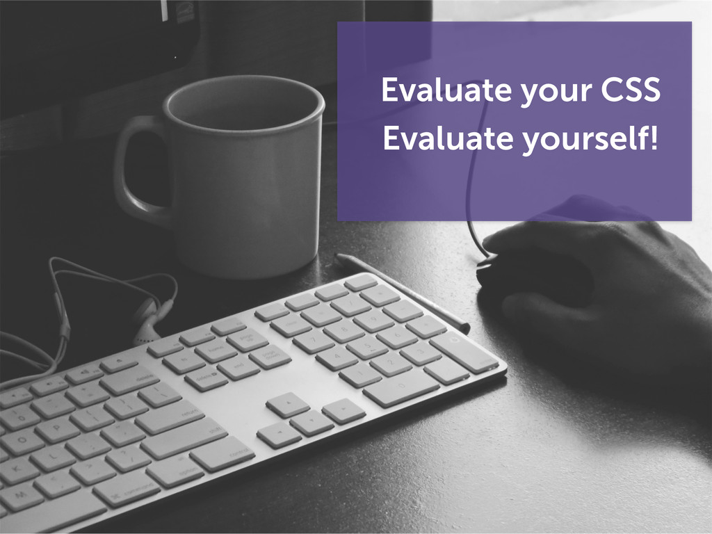Evaluate your CSS Evaluate yourself!