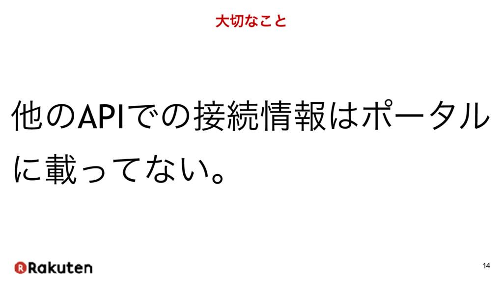 େͳ͜ͱ 14 ଞͷAPIͰͷଓใϙʔλϧ ʹࡌͬͯͳ͍ɻ