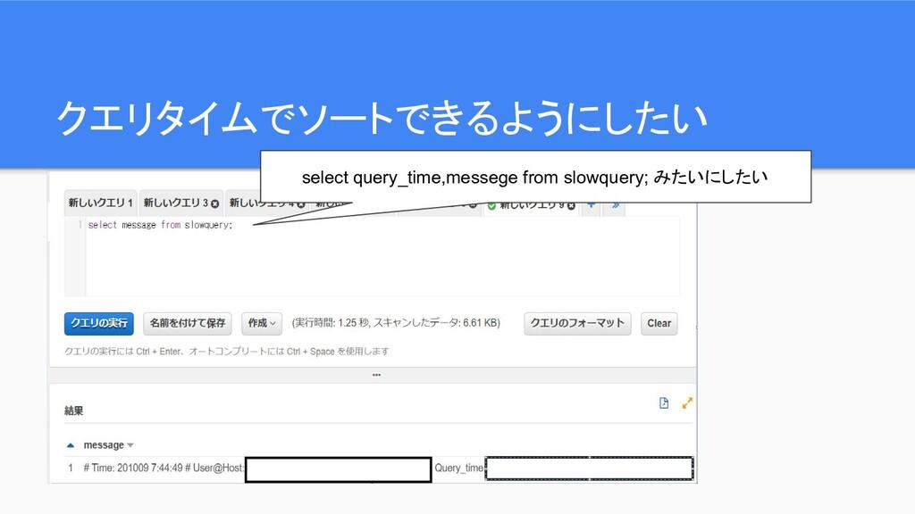 クエリタイムでソートできるようにしたい select query_time,messege f...