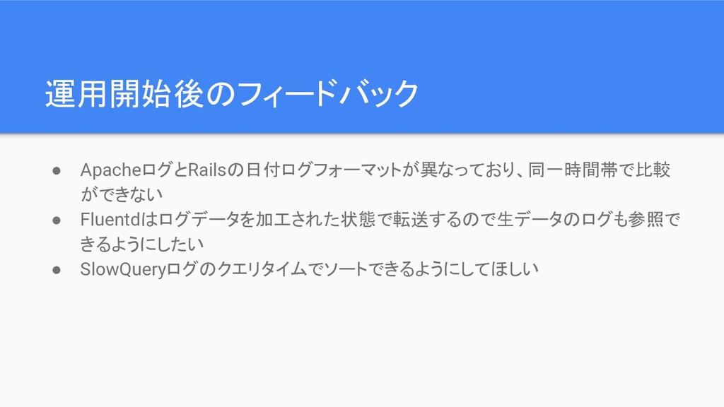 運用開始後のフィードバック ● ApacheログとRailsの日付ログフォーマットが異なってお...
