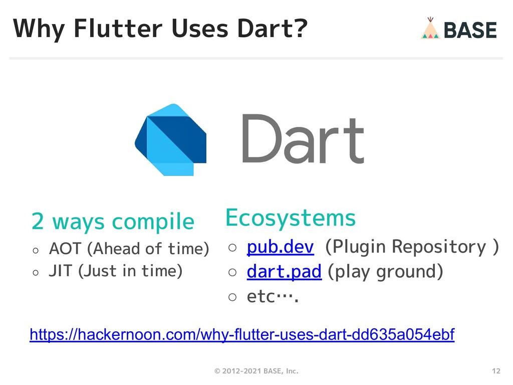 12 © 2012-2021 BASE, Inc. Why Flutter Uses Dart...