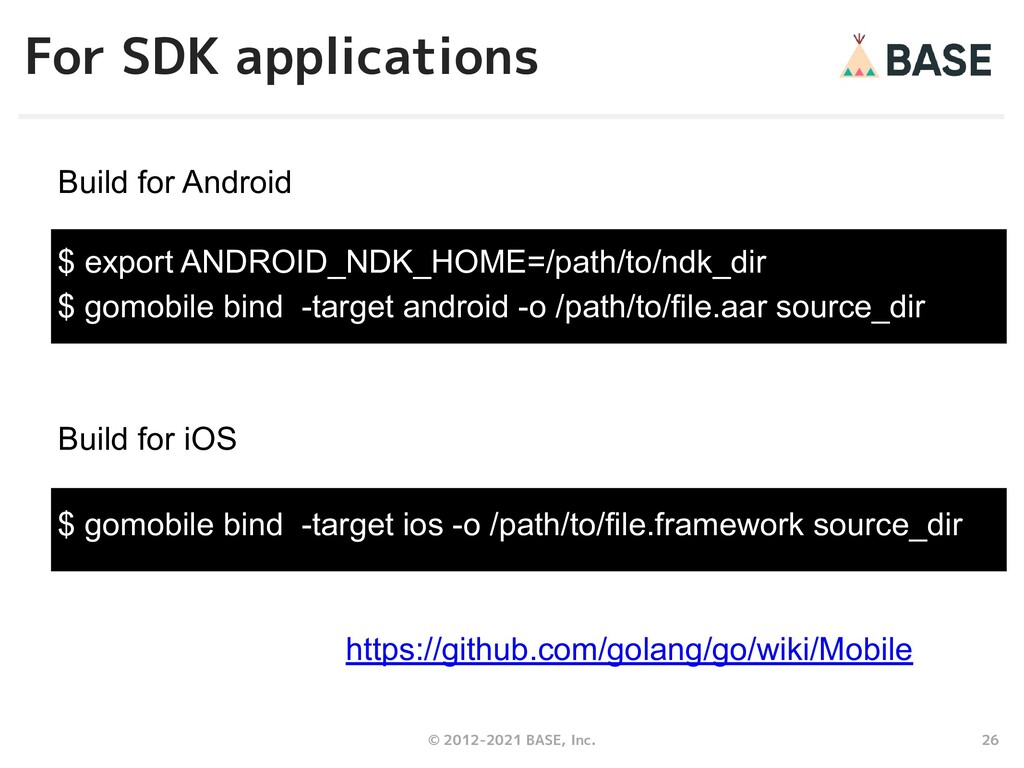 26 © 2012-2021 BASE, Inc. For SDK applications ...