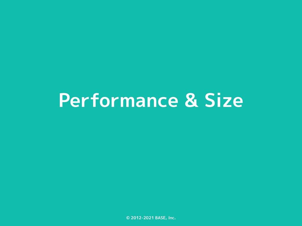 © 2012-2021 BASE, Inc. Performance & Size