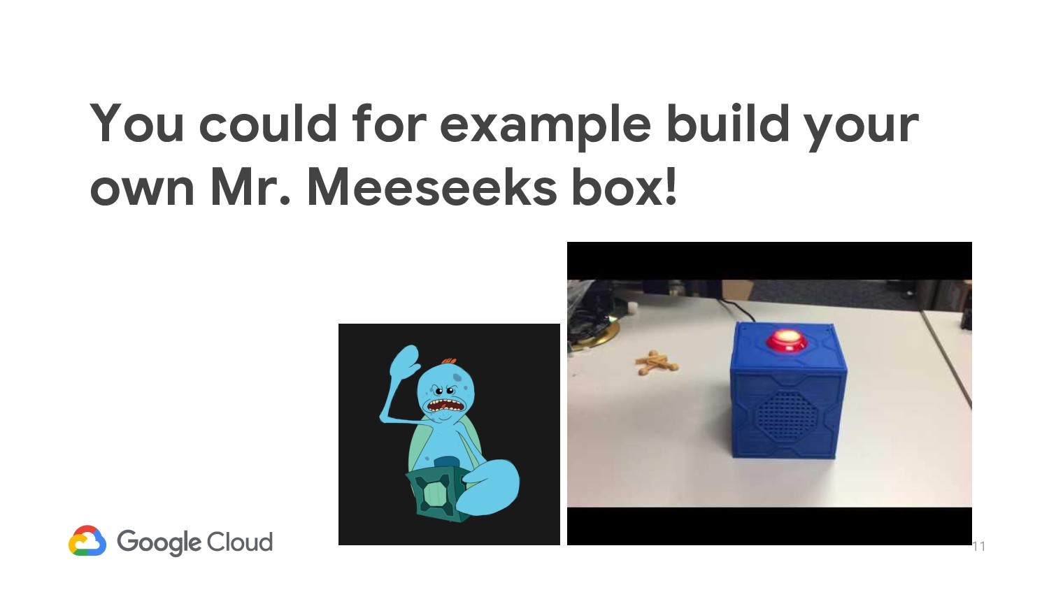 11 You could for example build your own Mr. Mee...
