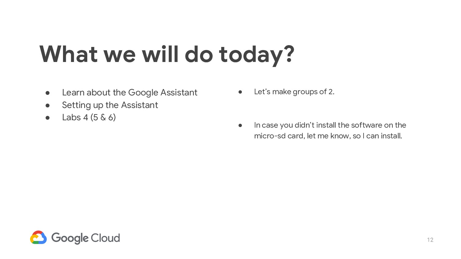 12 ● Learn about the Google Assistant ● Setting...