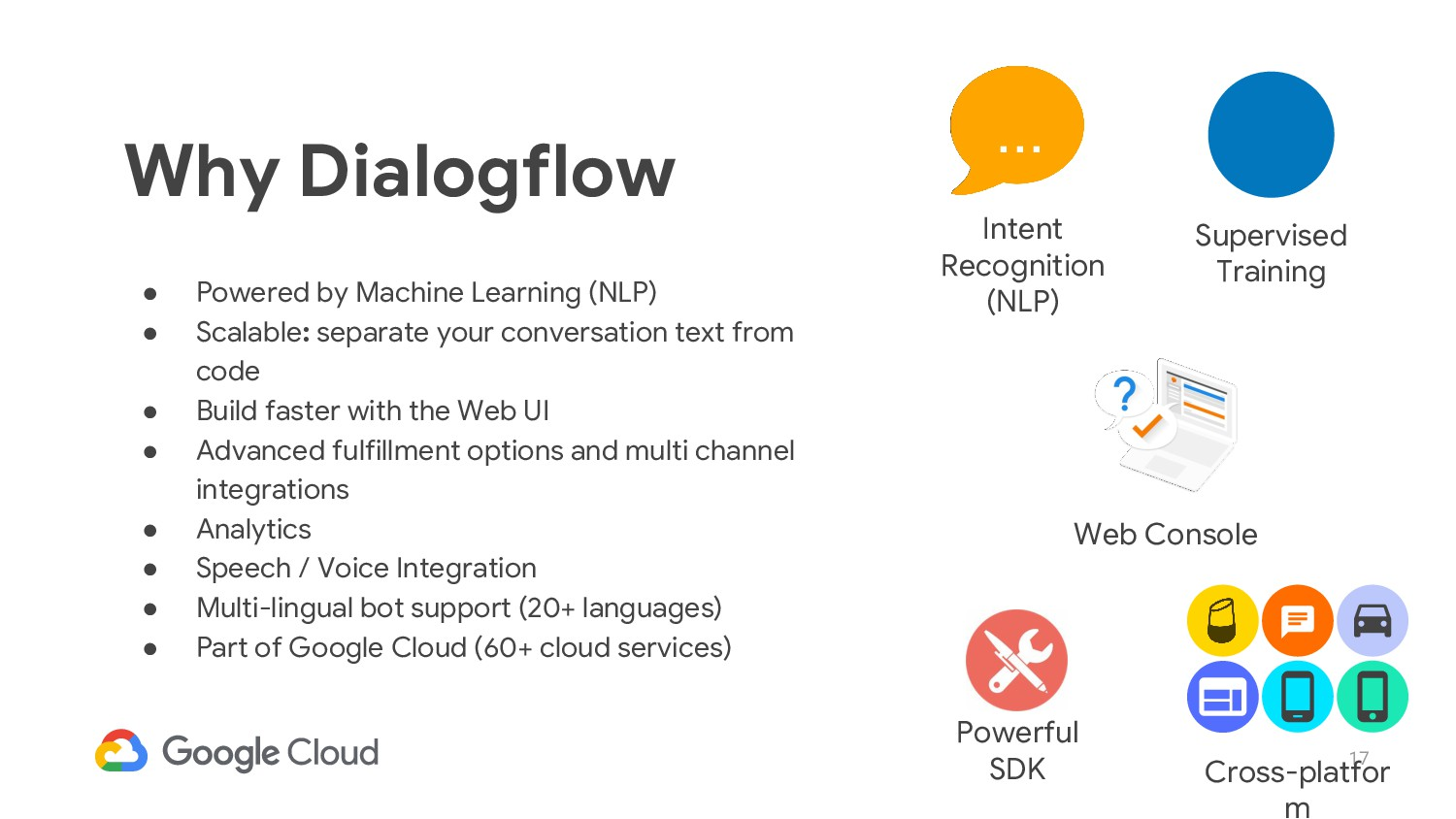 17 Why Dialogflow ● Powered by Machine Learning...