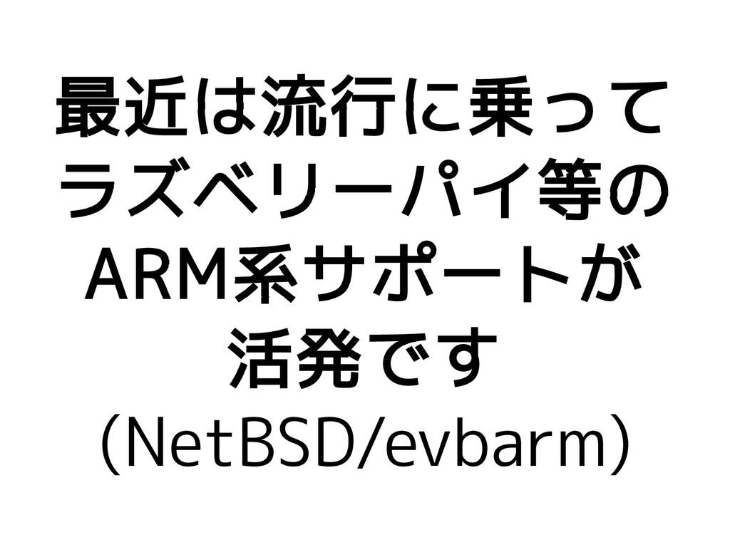 最近は流行に乗って ラズベリーパイ等の ARM系サポートが 活発です (NetBSD/evba...