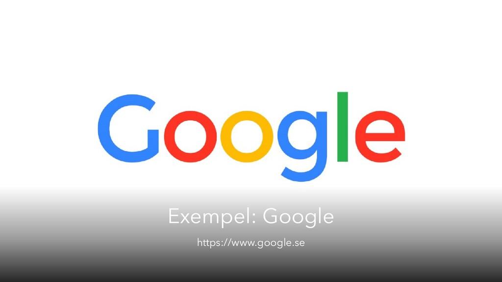 Exempel: Google https://www.google.se