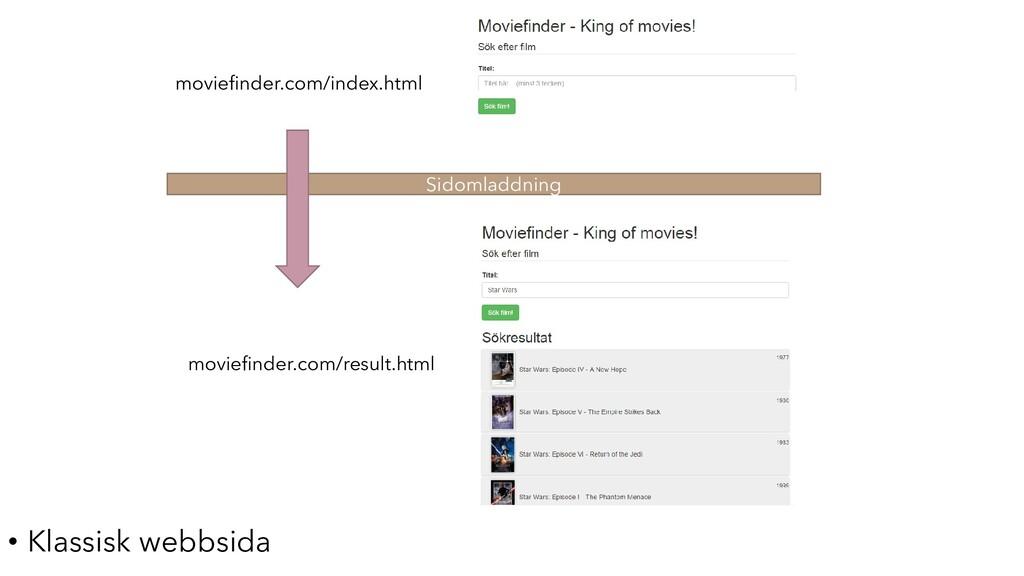 Sidomladdning • Klassisk webbsida moviefinder.c...