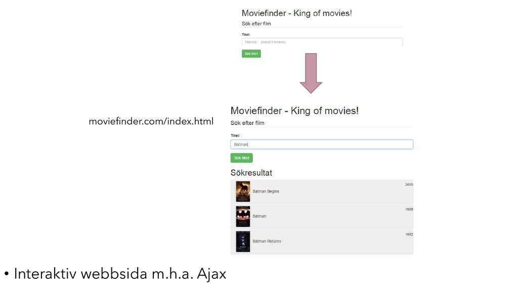 • Interaktiv webbsida m.h.a. Ajax moviefinder.c...