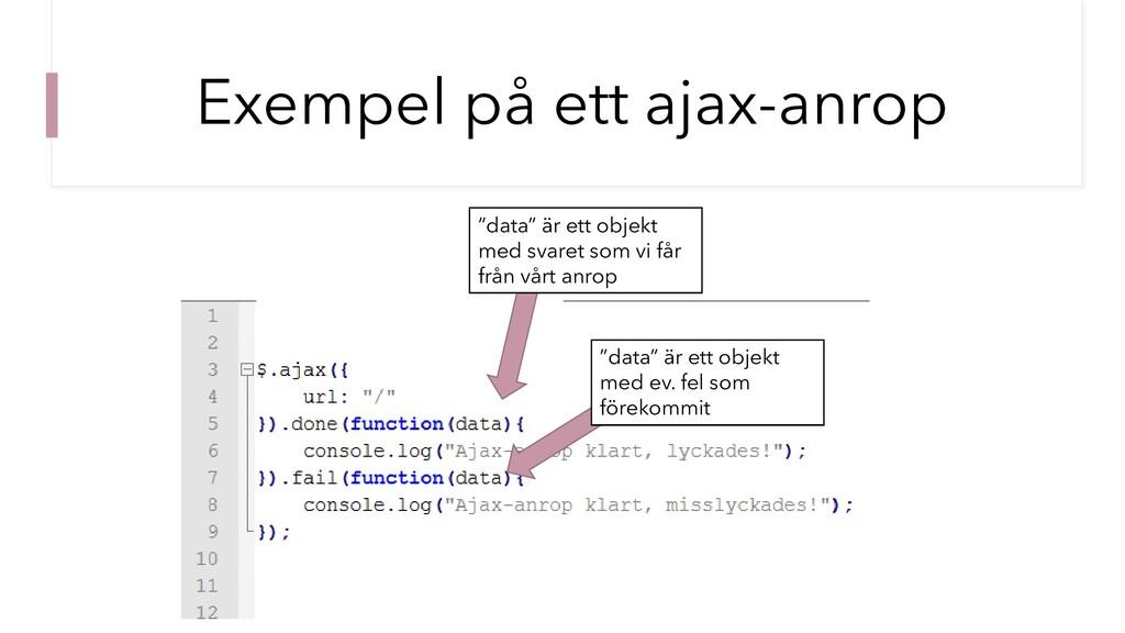"""Exempel på ett ajax-anrop """"data"""" är ett objekt ..."""