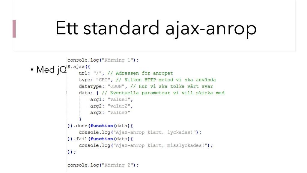Ett standard ajax-anrop • Med jQuery.