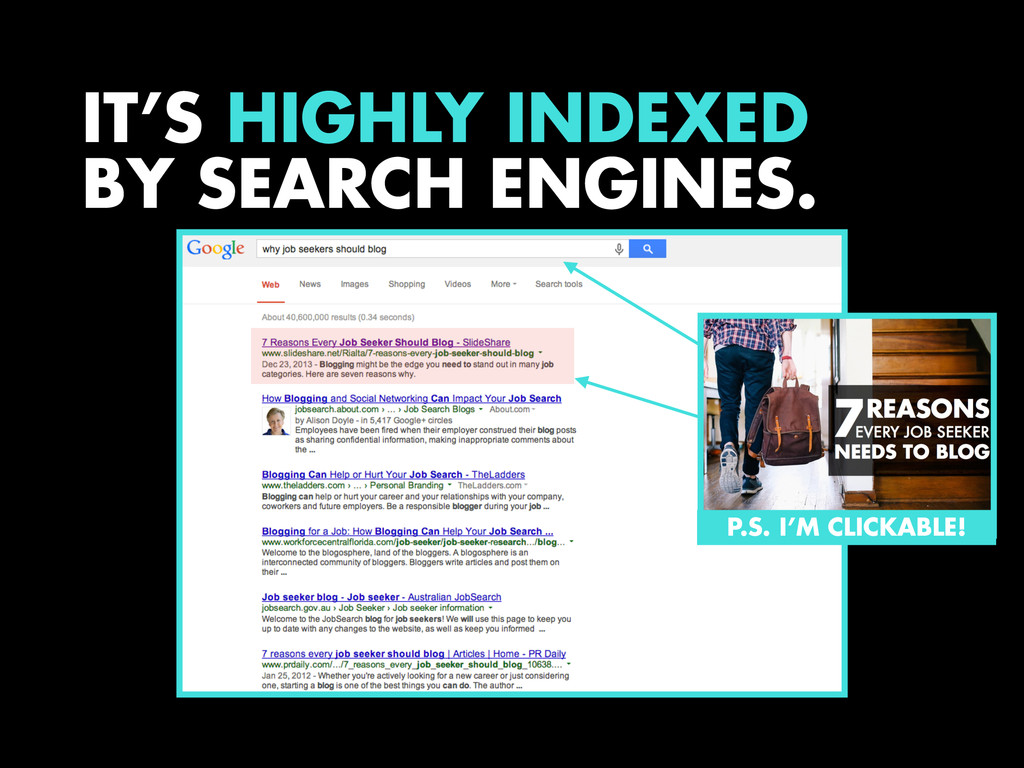 IT'S HIGHLY INDEXED BY SEARCH ENGINES. P.S. I'M...