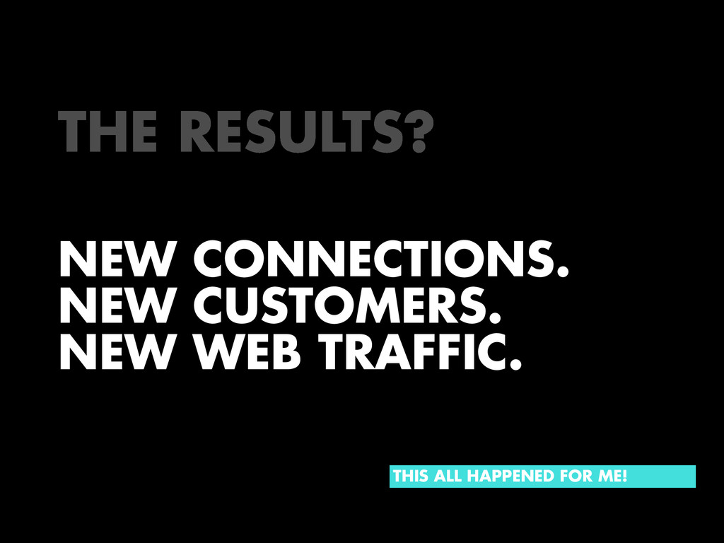 NEW CONNECTIONS. NEW CUSTOMERS. NEW WEB TRAFFIC...