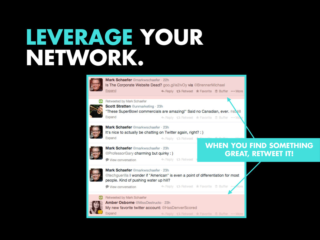 LEVERAGE YOUR NETWORK. WHEN YOU FIND SOMETHING ...
