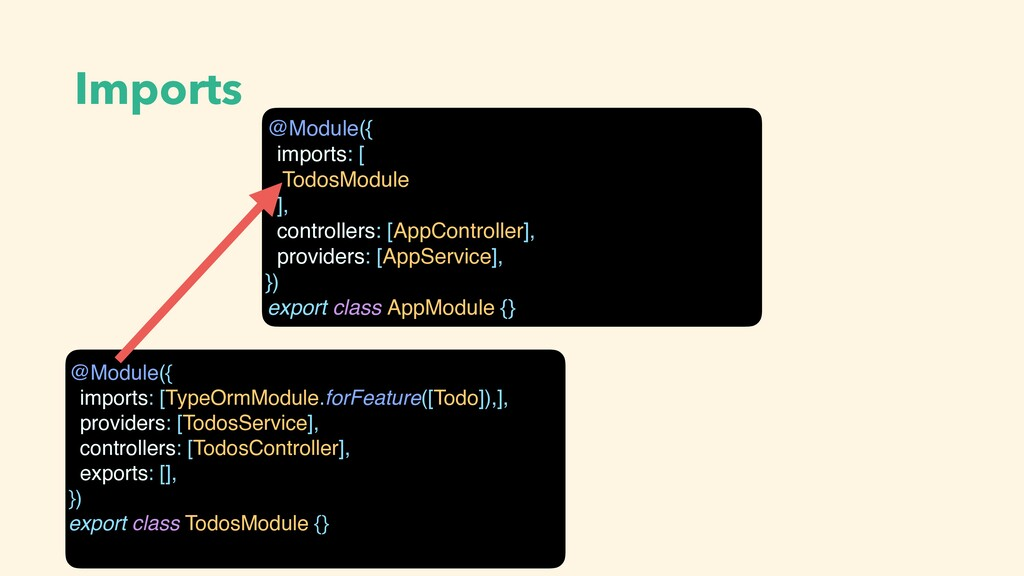 Imports @Module({ imports: [TypeOrmModule.forFe...