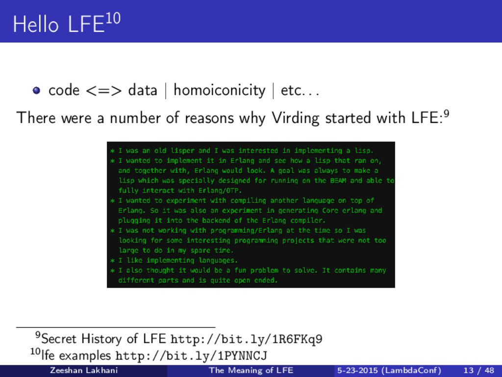 Hello LFE10 code <=> data | homoiconicity | etc...