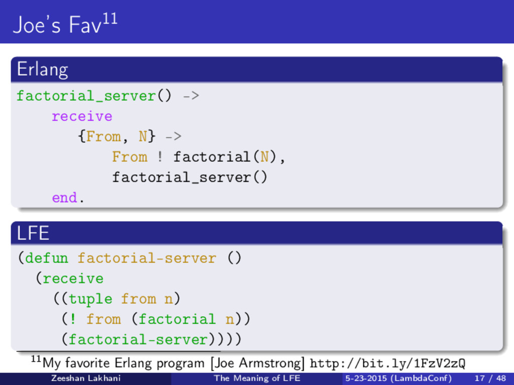 Joe's Fav11 Erlang factorial_server() -> receiv...