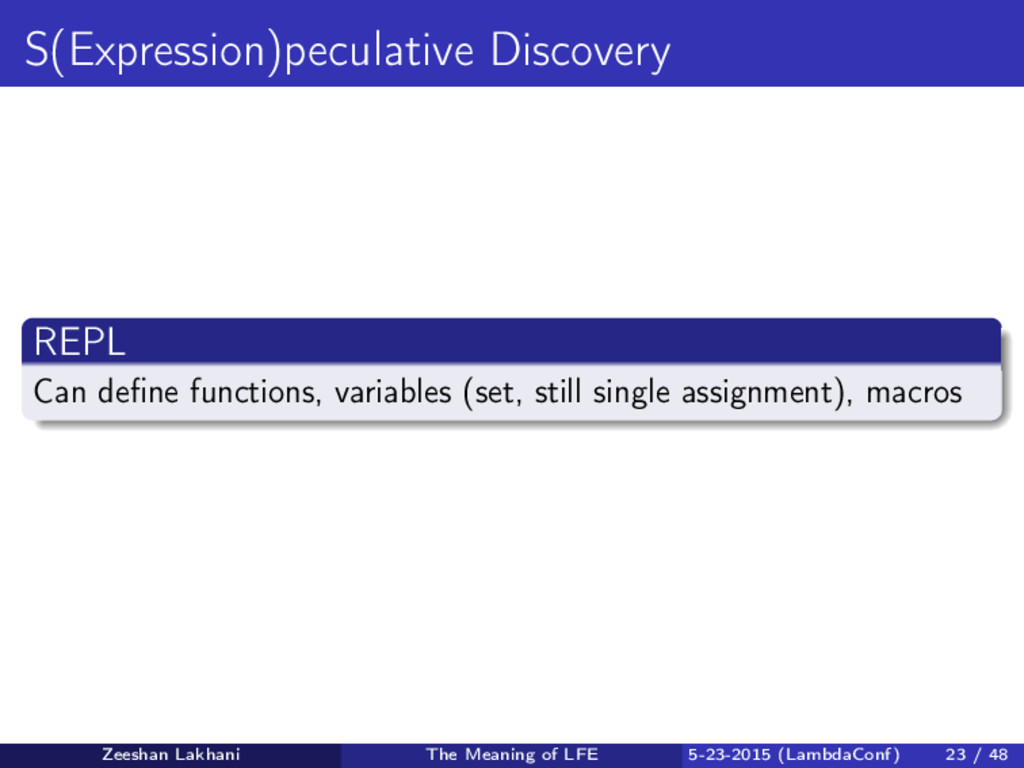 S(Expression)peculative Discovery REPL Can defin...