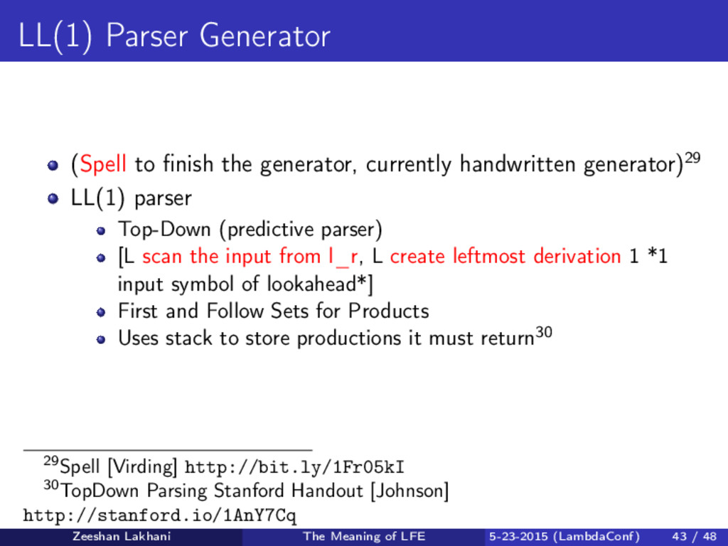 LL(1) Parser Generator (Spell to finish the gene...