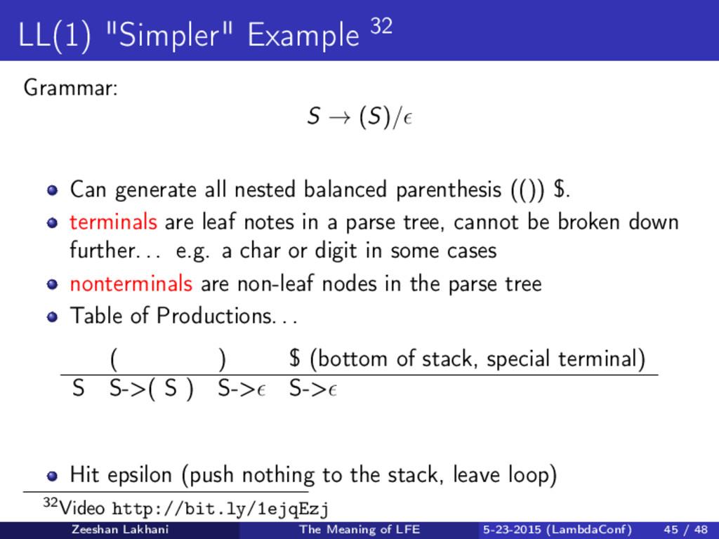 """LL(1) """"Simpler"""" Example 32 Grammar: S → (S)/ Ca..."""