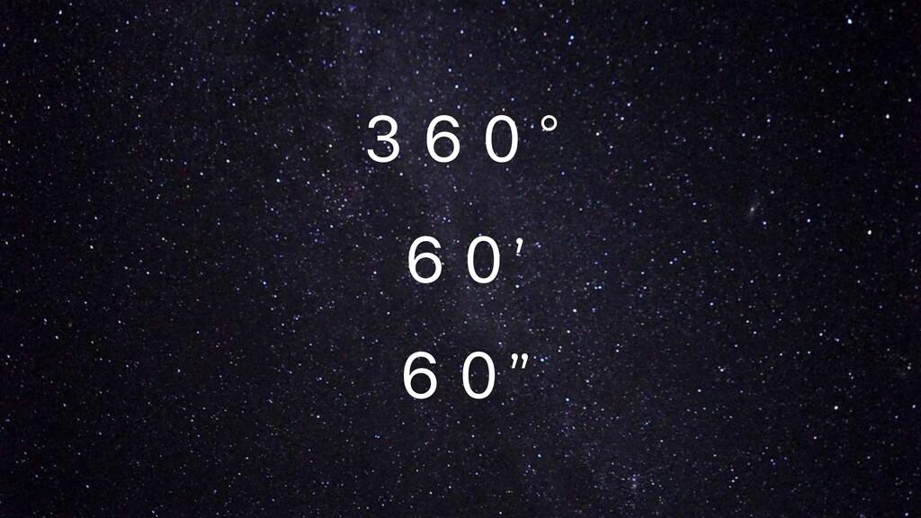 "360° 60' 60"""