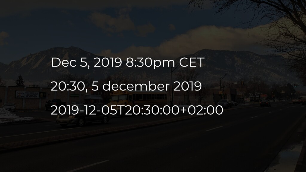 Dec 5, 2019 8:30pm CET 20:30, 5 december 2019 2...