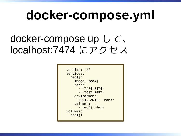 docker-compose.yml docker-compose up して、 localh...