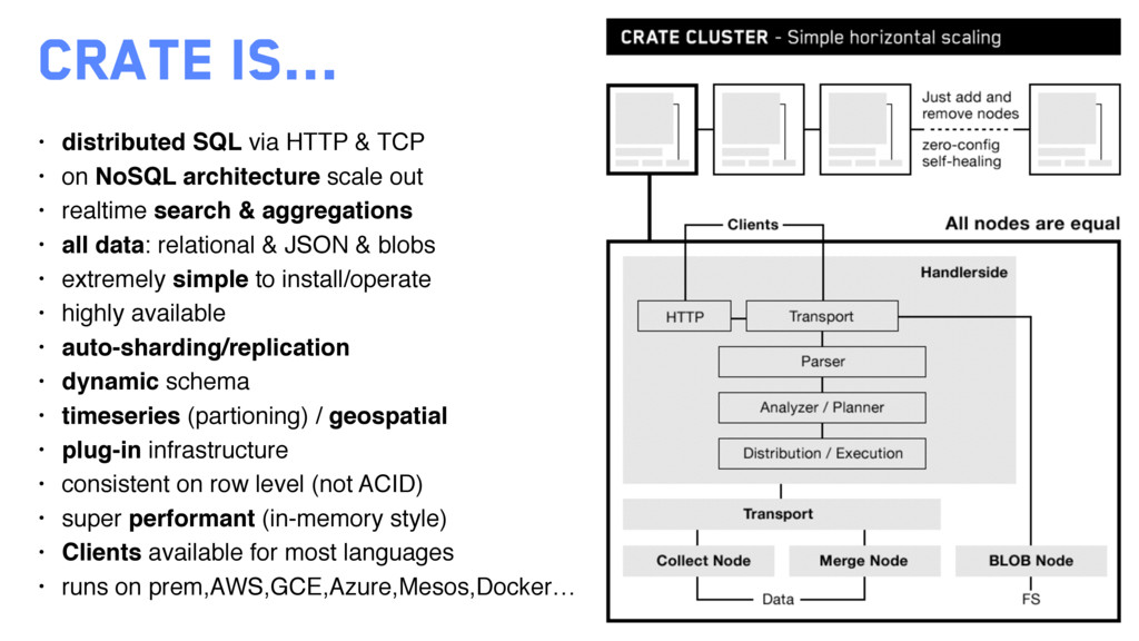 Crate is... • distributed SQL via HTTP & TCP • ...