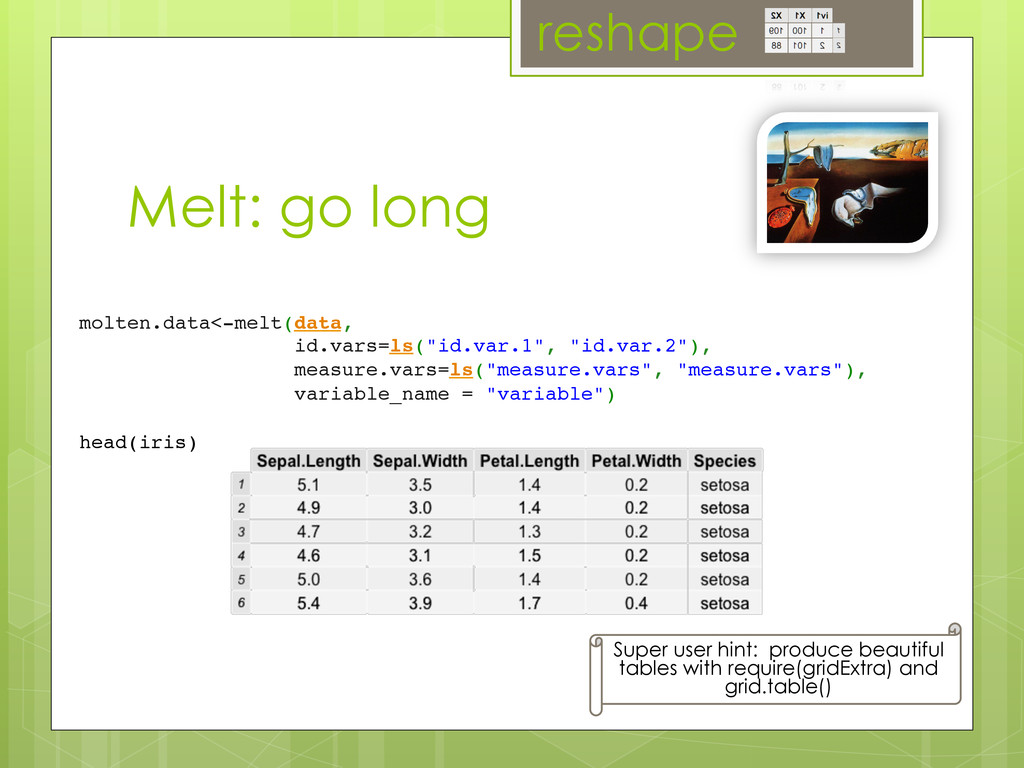 Melt: go long molten.data<-melt(data,	