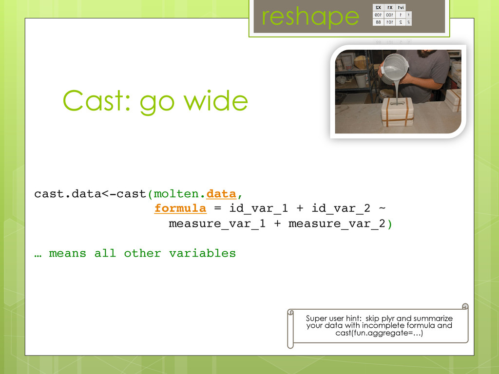 Cast: go wide cast.data<-cast(molten.data,	