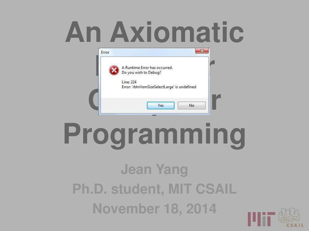An Axiomatic Basis for Computer Programming Jea...