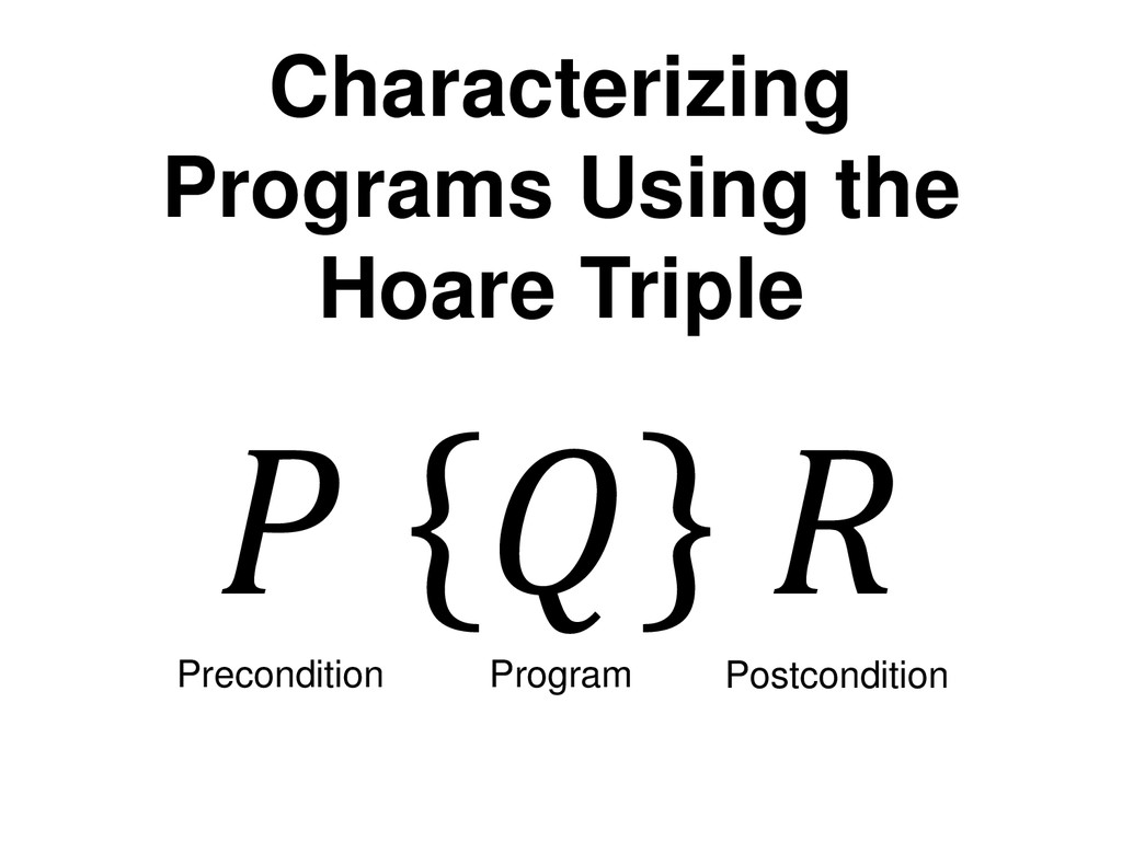 Characterizing Programs Using the Hoare Triple ...