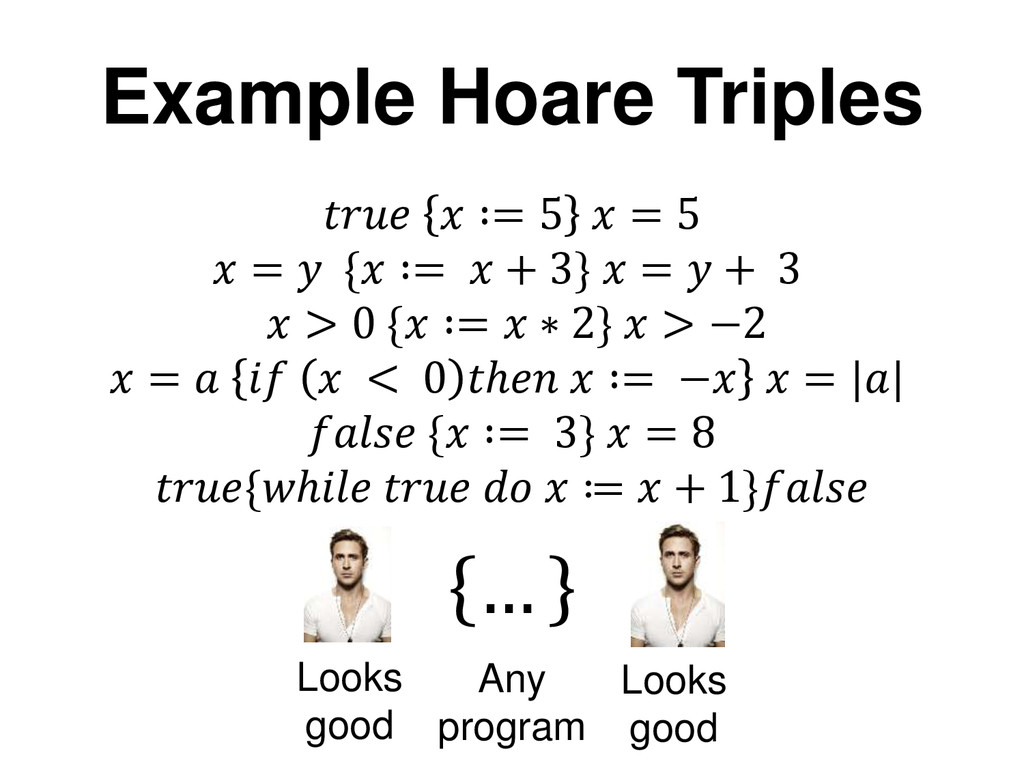Example Hoare Triples   ∶= 5  = 5  =  { ∶=  + 3...