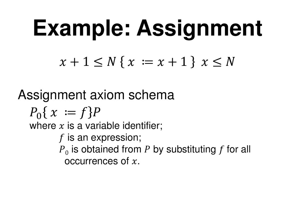 Example: Assignment  + 1 ≤   ≔  + 1  ≤  0  ≔   ...