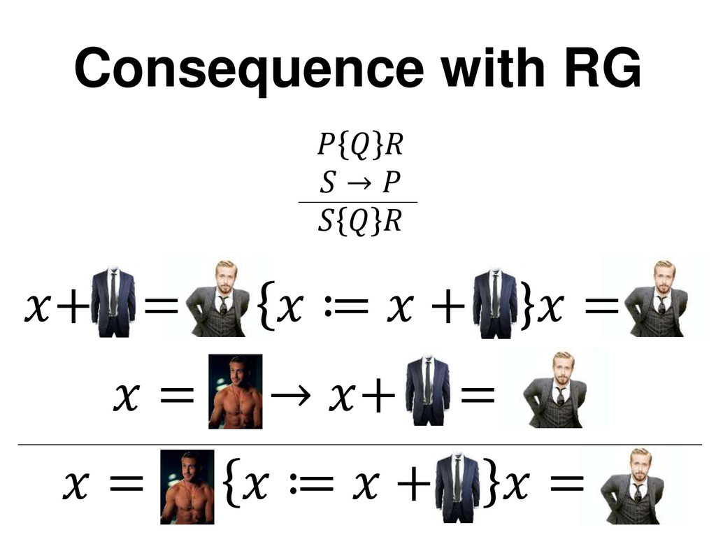 Consequence with RG + =  ≔  +  =  =  ≔  +  =  =...