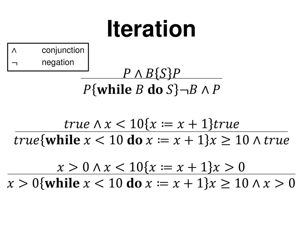 Iteration ∧ conjunction ¬ negation  ∧  < 10  ≔ ...