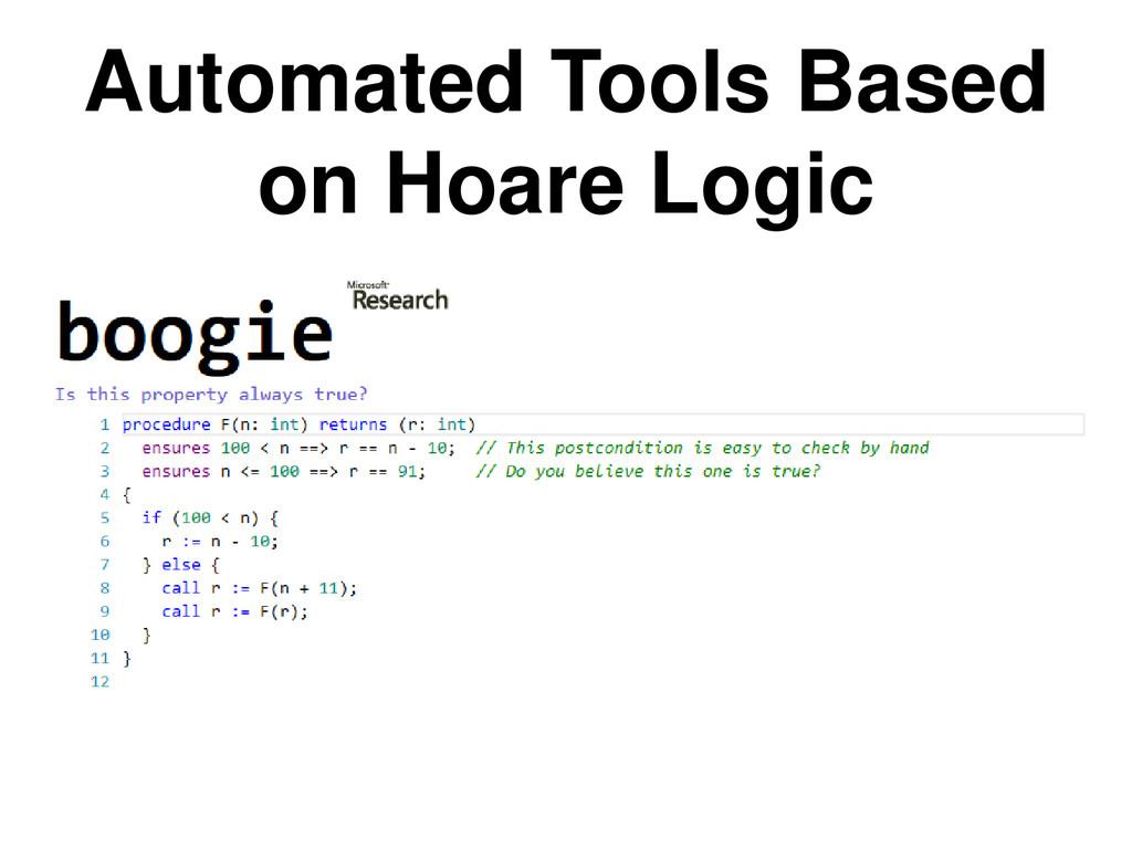 Automated Tools Based on Hoare Logic