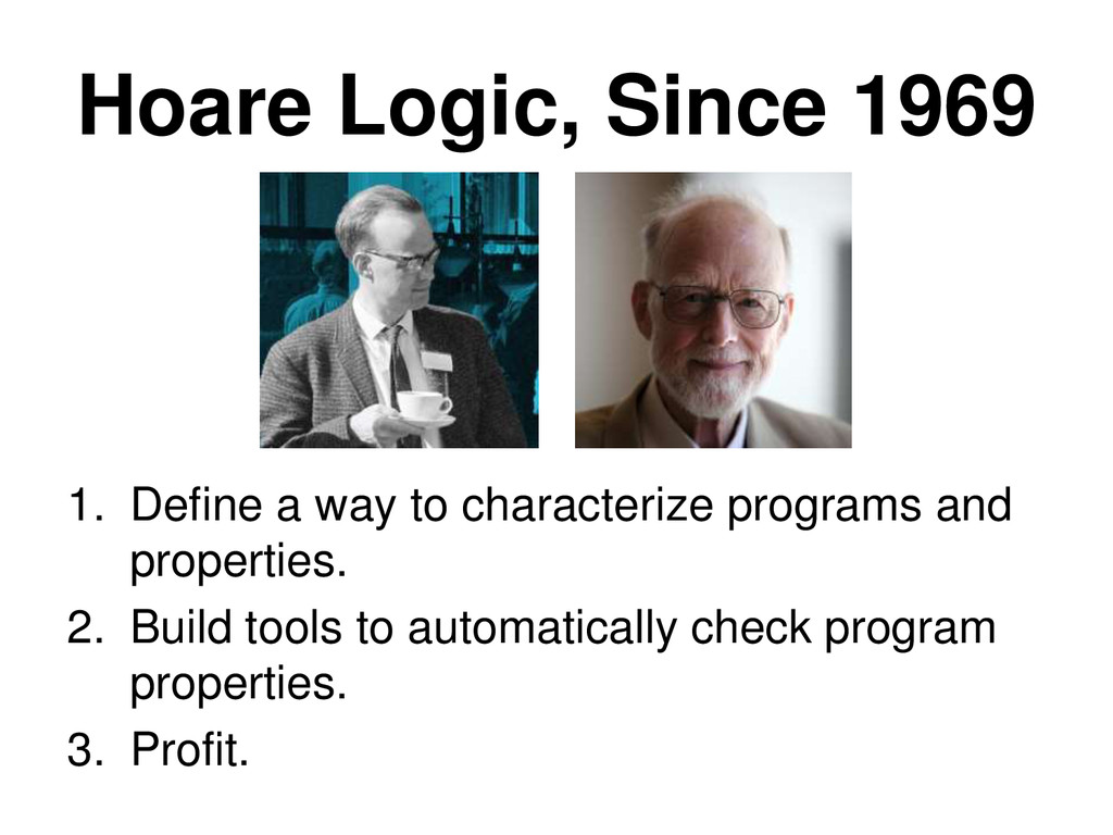 Hoare Logic, Since 1969 1. Define a way to char...