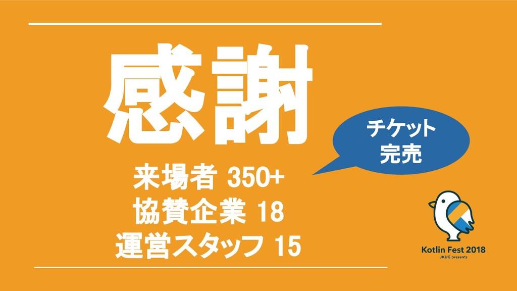 感謝 来場者 350+ 協賛企業 18 運営スタッフ 15 チケット 完売