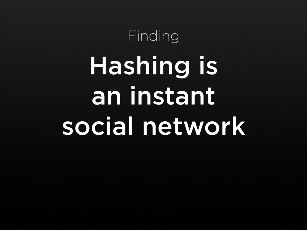 Hashing is an instant social network Finding