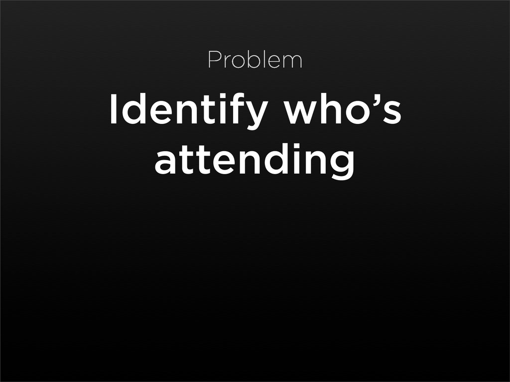 Identify who's attending Problem